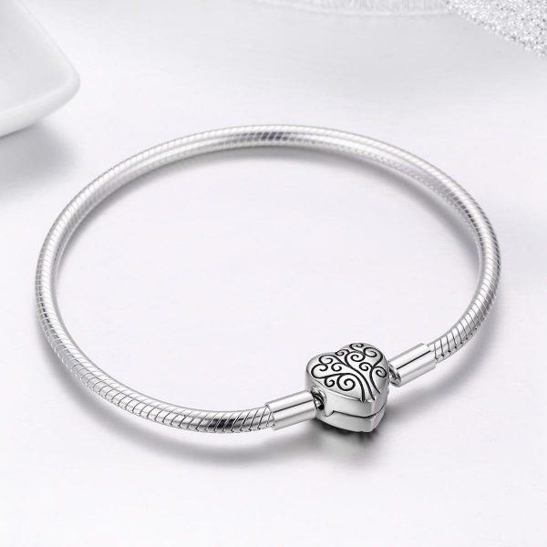 Életfa | Családfa szívben S925 ezüst kígyólánc charm karkötő