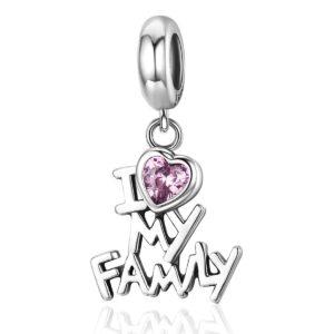 MyCharm I Love my Family ezüst Charm