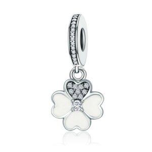 MyCharm Szerencsevirág fehér Cirkónia köves Szív alakú levéllel S925 ezüst Charm & Medál