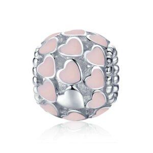 MyCharm Romantikus Rózsaszín Szív 925 Ezüst Charm & Medál