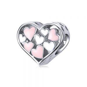 MyCharm Rózsaszín Szívek 925 Ezüst Charm