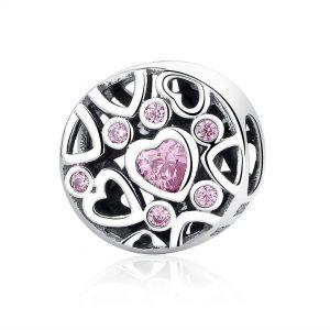 MyCharm Rózsaszínű Szív 925 Ezüst Charm