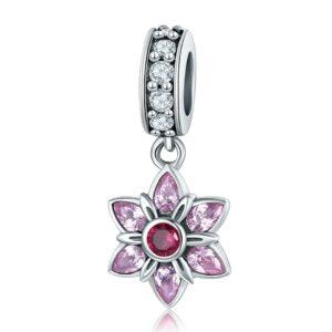 MyCharm Rózsaszín Kisvirág 925 Ezüst Charm & Medál